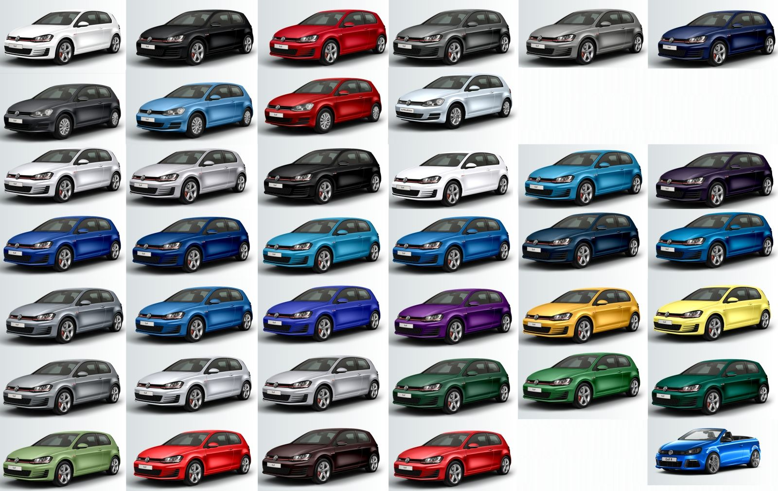 Colour a car - The Full Colour Spectrum Of The Vw Golf 7